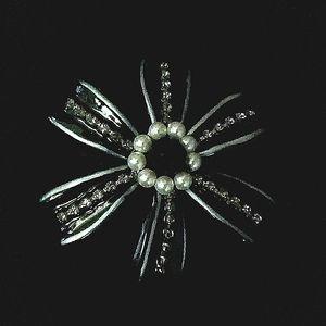 c.'90s Orna Lalo Embellished Black Flower Brooch
